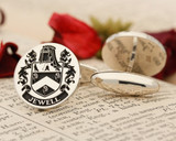 Jewell Family Crest Cufflinks in Silver or 9ct Gold - positive engraving