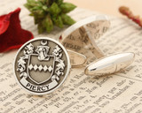 PIERCY Family Crest Silver or 9ct Gold Cufflinks Negative Matt Silver