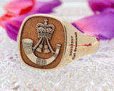 The Rifles Cap Badge Signet Ring, available in 9ct Gold and Sterling Silver
