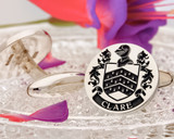 Clare Family Crest Cufflinks engraved to order, positive oxidised example
