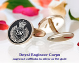 Royal Engineers Corps Silver or 9ct Gold Cufflinks