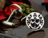 Smith Family Crest Mens Silver Cufflinks laser engraved with oxidised ageing