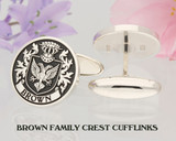 Brown Family Crest Cufflinks Sterling Silver, laser engraved negative, oxidised