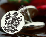 Judge Family Crest Silver Mens Engraved Cufflinks with oxidised ageing