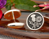 Scottish Thistle English Rose  Cufflinks Negative Engraving