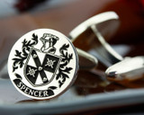 Spencer Family Crest Mens Silver Cufflinks laser engraved with oxidised ageing