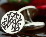 Victorian Monogram Silver Mens Cufflinks - AW WA - oxidised ageing recommended