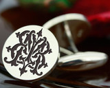 Victorian Monogram Silver Mens Cufflinks - BM MB - oxidised ageing recommended