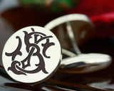 Victorian Monogram Silver Mens Cufflinks - SJ JS - oxidised ageing recommended