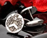 Hartford Engraved Family Crest Silver Cufflinks