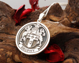 Brophy Family Crest Silver engraved pendant