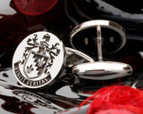 Shea Family Crest Silver Cufflinks engraved