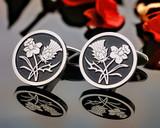 Daffodil & Thistle Silver Cufflinks, Negative - Oxidised - Mirror Image