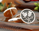 Daffodil and Thistle Silver Cufflinks