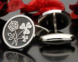 English Rose Irish Clover Engraved Cufflinks