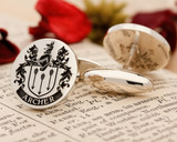 Archer family crest cufflinks positive engraving oxidised
