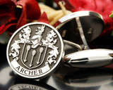 ARCHER family crest cufflinks, silver oxidised
