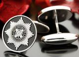 Irish Guards silver cufflinks, negative engraving.