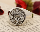 Jackson Family Crest Silver Signet Ring HS44 Round