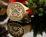 Gold signet ring (actual engraving with diamond setting for crest - additional cost)