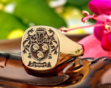 Family Crest 9ct Gold Signet Ring 9ct Gold HS3 ' Synnott Family Crest'