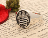Hulme Family Crest Signet Ring Silver HS8 Negative Oxidised