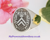 Family Crest Sumner Signet Ring HS5 Negative Matt Finish Silver or 9ct Gold