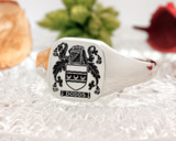 Dodds Family Crest Signet Ring Silver or 9ct Gold HS27 Positive