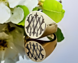 Monogram 9ct Gold Oval Signet Ring HS24 Positive Engraving