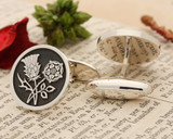 Thistle and Rose Silver or 9ct Gold Cufflinks Negative Oxidised