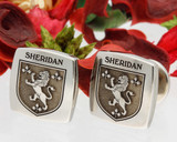 Sheridan Family Crest Cufflinks - photo shows Titanium square, also available in Sterling Silver round.