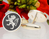 Rampant Lion Laser Engraved Cufflinks - example shown as negative engraved with oxidised finish
