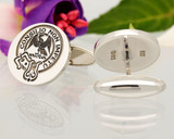 Agnew Scottish Clan Cufflinks Matt Silver Positive Engraving