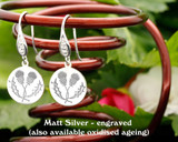Scottish Entwined Thistle design sterling silver earrings - engraved matt silver