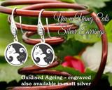 Yin n Yang Cats design sterling silver earrings - engraved oxidised
