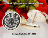 Doyle Family Crest Negative Engraving Cufflinks