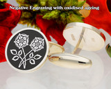 Double English Rose Cufflinks D2 Negative Engraving