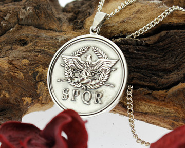 SPQR Roman Empire Eagle design, created at customers request. Re-engraving available on this design, round pendant recommended.
