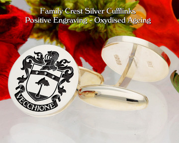 Vecchione  (Italy) Family Crest Cufflinks Positive Oxidised