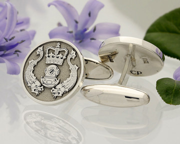 Royal Navy Diving and EOD design silver or 9ct Gold Cufflinks Matt Silver Negative