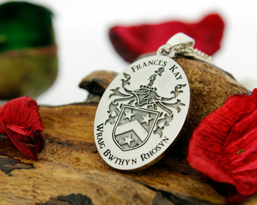 Sherwood Family Crest design, engraved on Oval pendant, available for re-engraving and customisation.