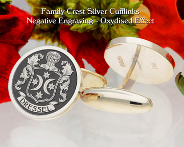 Dressel Family Crest Cufflinks Negative Oxidised