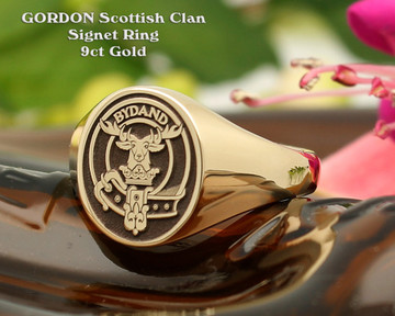 Gordon Scottish Clan Signet Ring 9ct Gold HS8