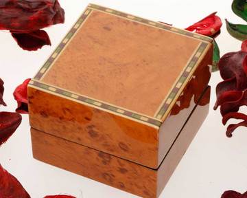 Walnut Finish Ring box in outer white card box with wax seal