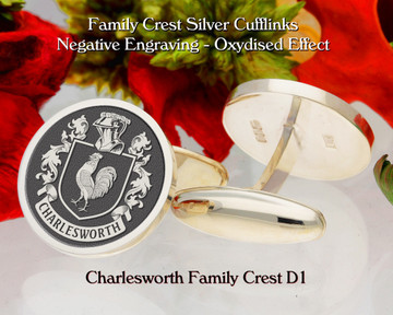 Charlesworth Family Crest Silver Cufflinks D1