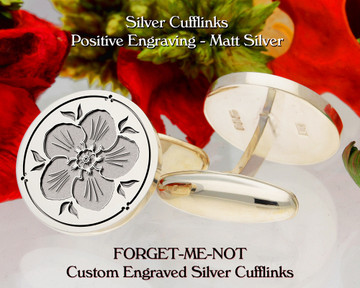 Forget-Me-Not Personalised Silver Cufflinks D2 Positive Matt Silver