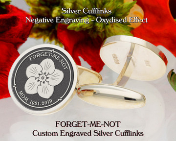 Forget-Me-Not Personalised Silver Cufflinks D3 Plus Text Negative Oxidised