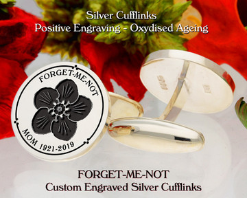 Forget-Me-Not Personalised Silver Cufflinks D3 Plus Text Positive Oxidised