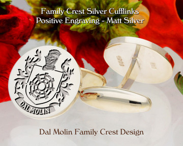 Dal Molin Family Crest Silver or 9ct Gold Cufflinks