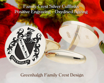 Greenhalgh Family Crest Cufflinks Sterling Silver or 9ct Gold